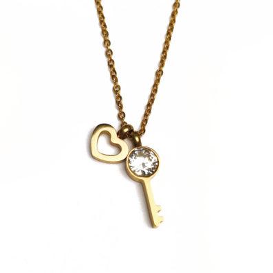Schlüssel zum Herzen - Halskette - Gold