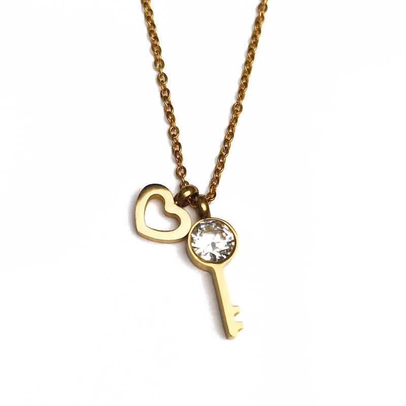 Schlüssel zum Herzen – Halskette – Gold
