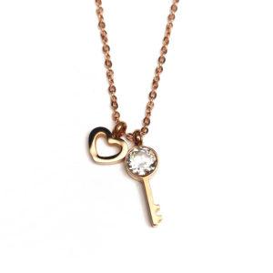Schlüssel zum Herzen - Halskette - Roségold
