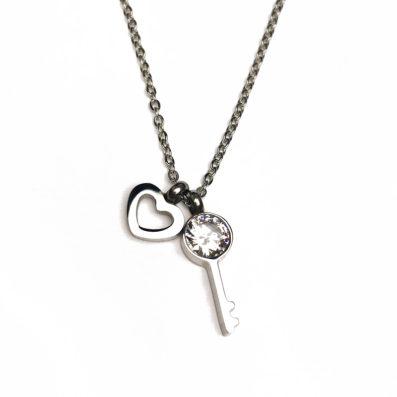 Schlüssel zum Herzen - Halskette - Silber